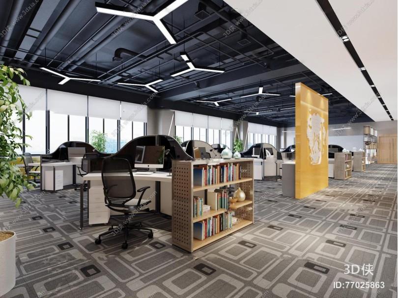 现代敞开式办公室3D模型
