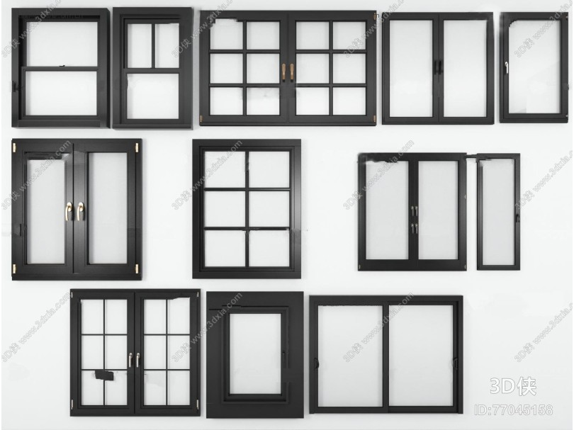 现代实木窗户组合3D模型