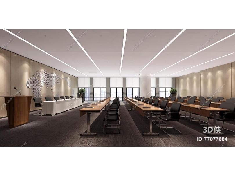 现代多功能会议室报告厅3D模型