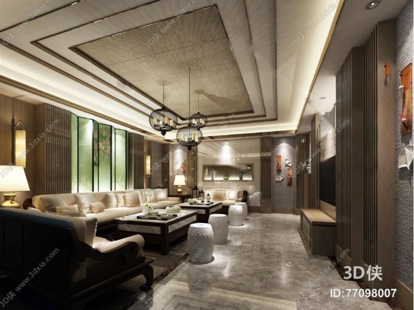 东南亚ktv 3D模型 吊灯 沙发茶几 鼓凳 台灯 摆件 墙饰