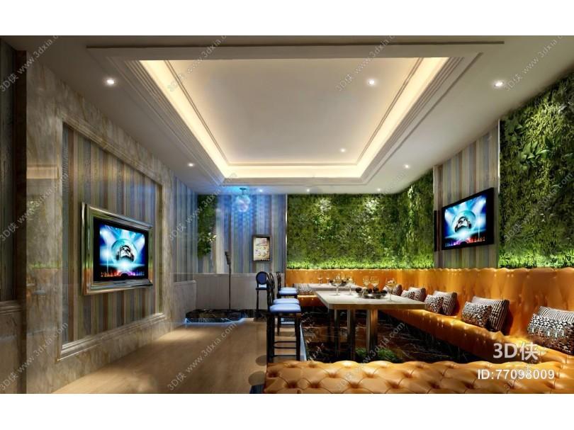 ktv包间3D模型 沙发茶几 吧椅 植物墙
