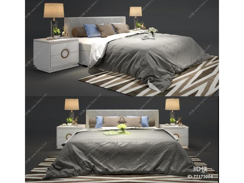 现代布艺双人床床头柜台灯组合3D模型