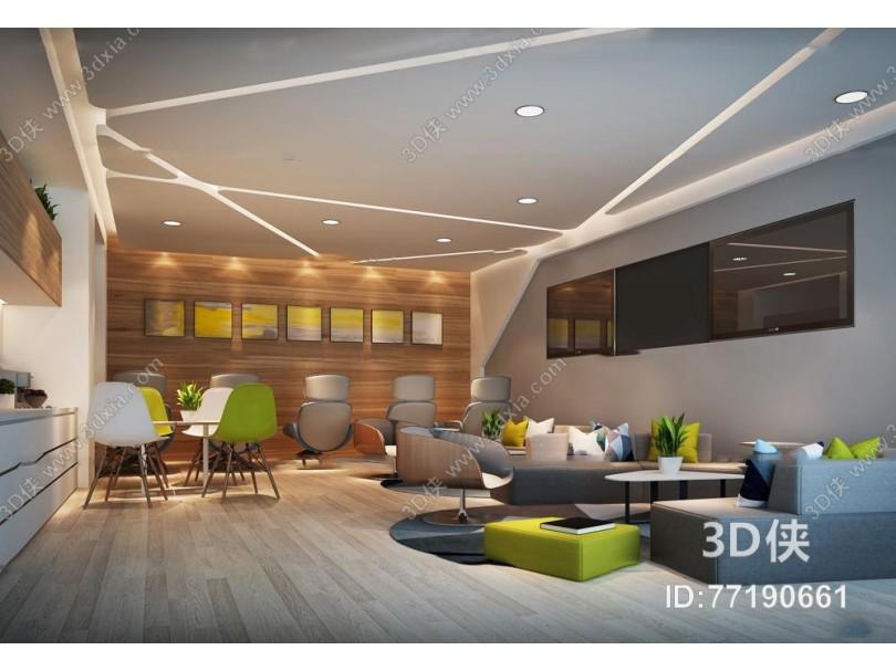 现代办公休息区茶水间3D模型