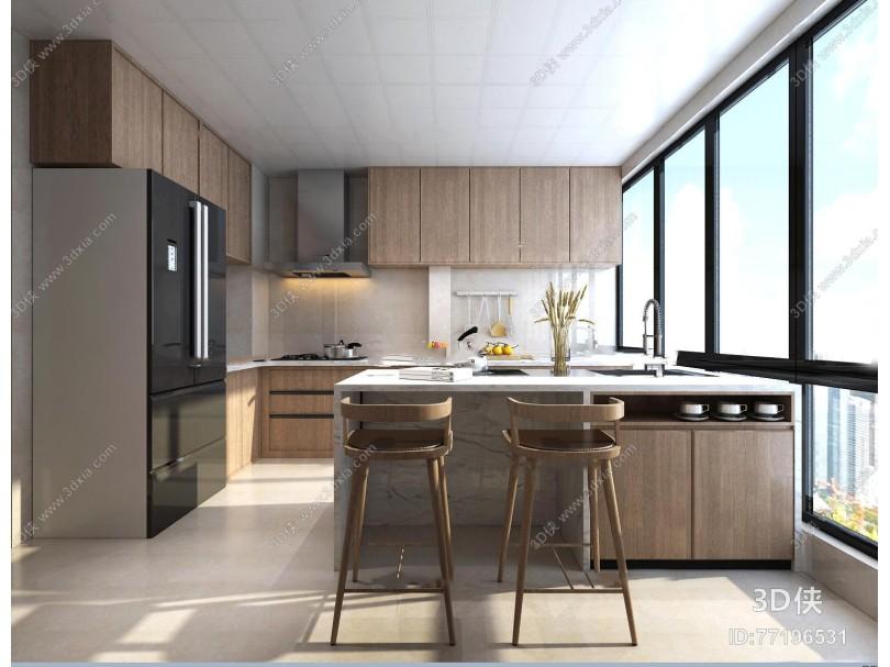 现代厨房吧台3D模型