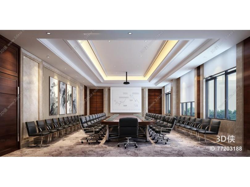 现代大会议室3d模型
