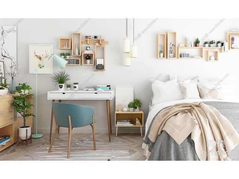 现代双人床书桌椅组合3d模型