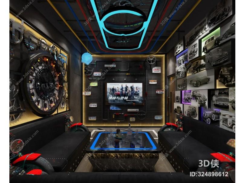 现代KTV包间3D模型