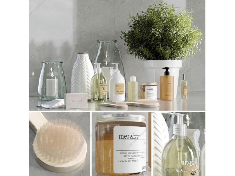 现代沐浴洗漱化妆用品组合3d模型