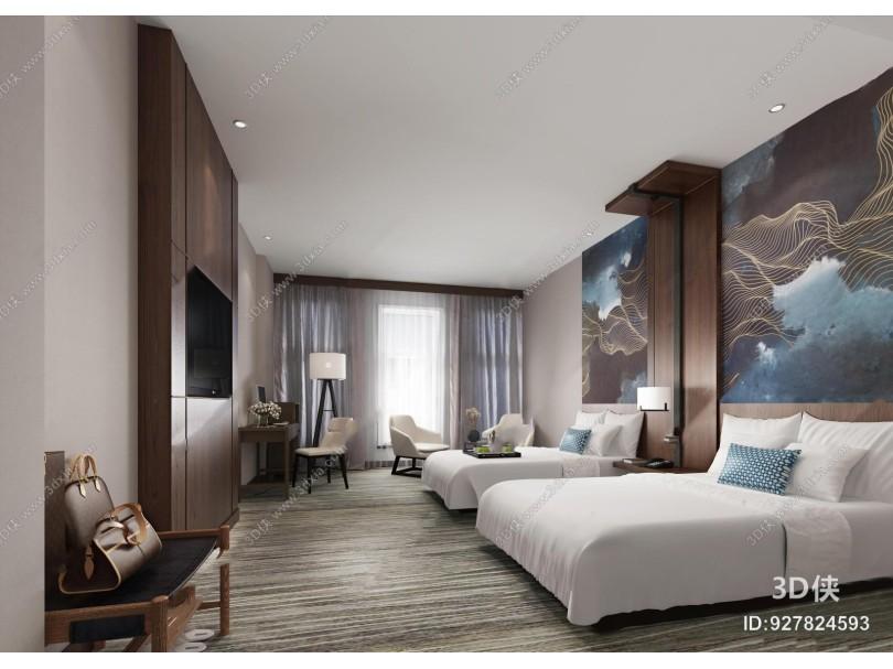 现代酒店双人房客房3D模型