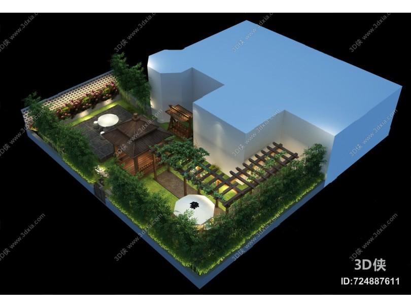 现代花园3D模型