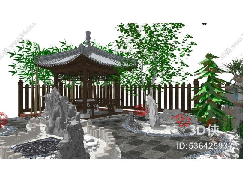 中式别墅庭院景观SU模型