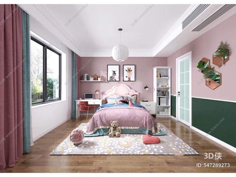北欧卧室女孩房3d模型
