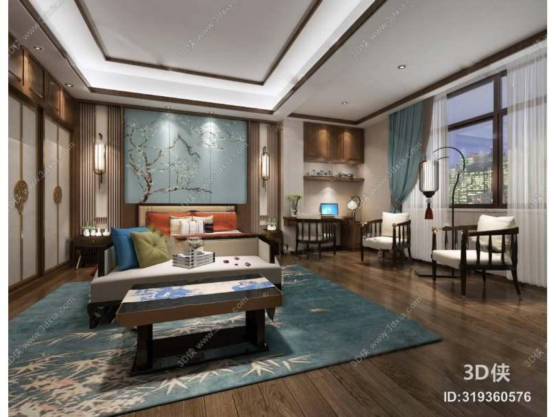 中式卧室3D 椅子 落地灯 双人床 背景墙 多人沙发