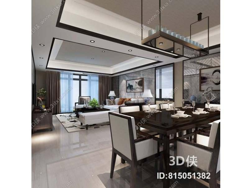 新中式客餐厅 新中式烛台式吊灯 新中式木艺餐桌椅组合