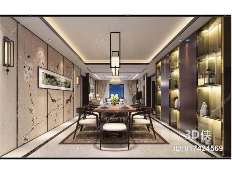 新中式家居餐厅 新中式羊皮吊灯 新中式棕色木艺餐桌椅组合