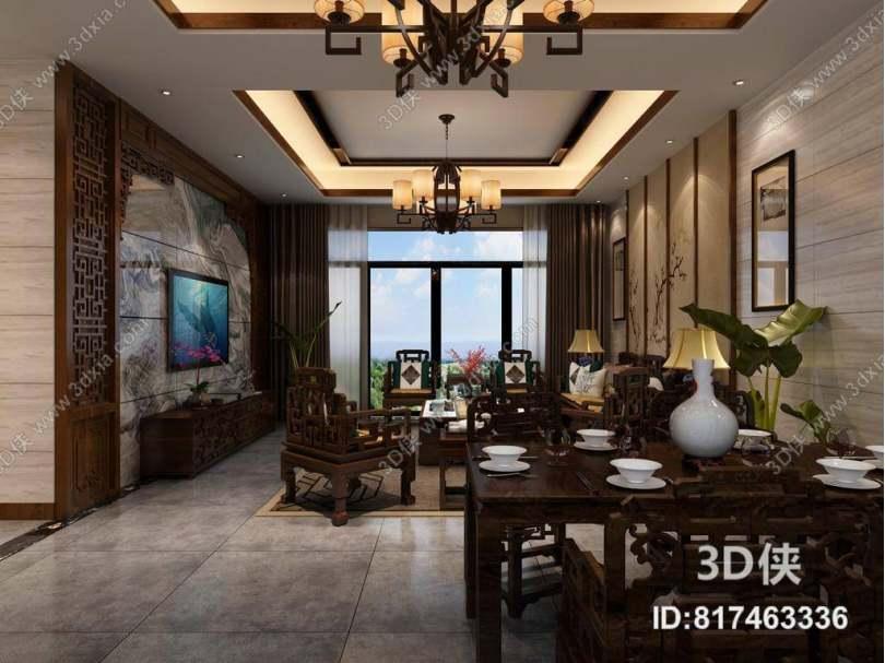 传统中式客餐厅 传统中式木艺电视柜 传统中式木艺餐桌椅组合 传统中式木艺沙发茶几组合