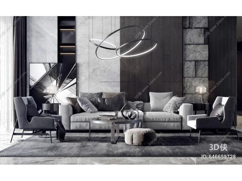 现代高级灰组合沙发3d模型
