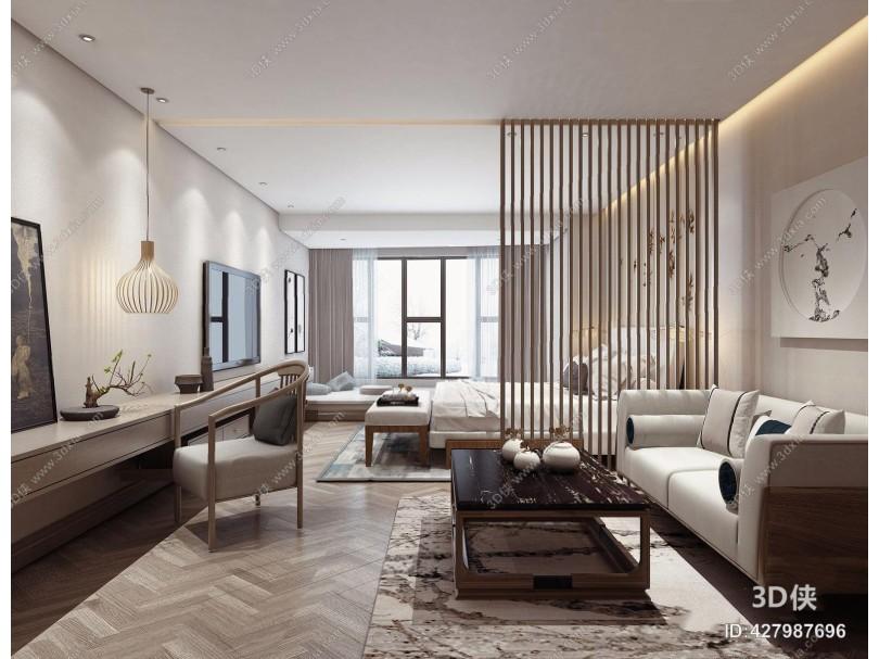 新中式酒店客房 新中式客房 多人沙发 茶几 双人床 挂画 床尾凳 地毯 摆件