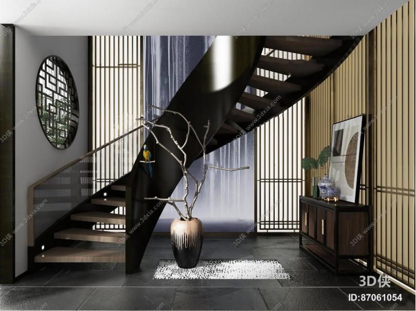 新中式旋转楼梯端景柜摆件组合3D模型