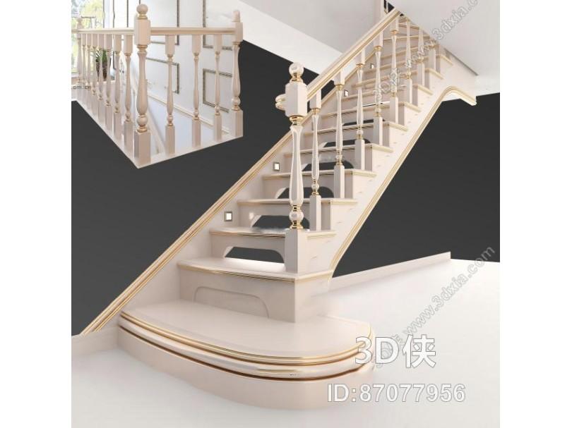 欧式实木楼梯3D模型