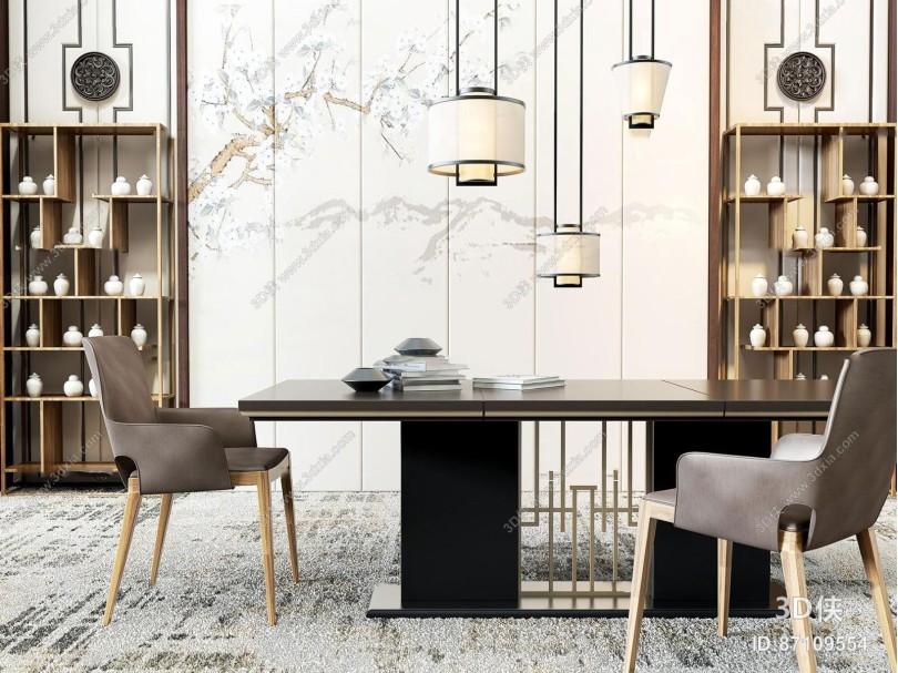 新中式餐厅餐桌椅装饰柜组合3D模型
