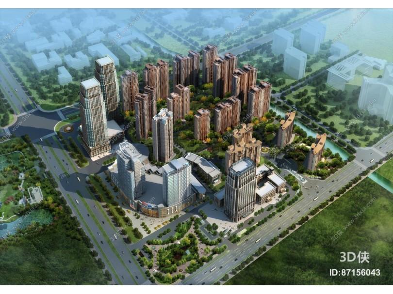 现代建筑外观鸟瞰3D模型