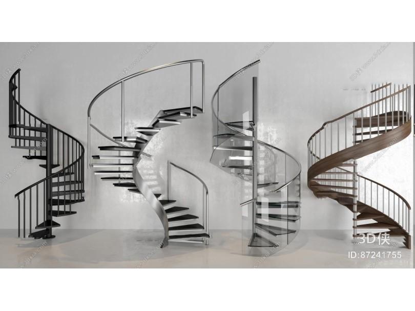 现代旋转楼梯组合3D模型