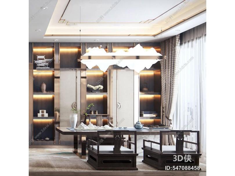 新中式書房茶室3d模型