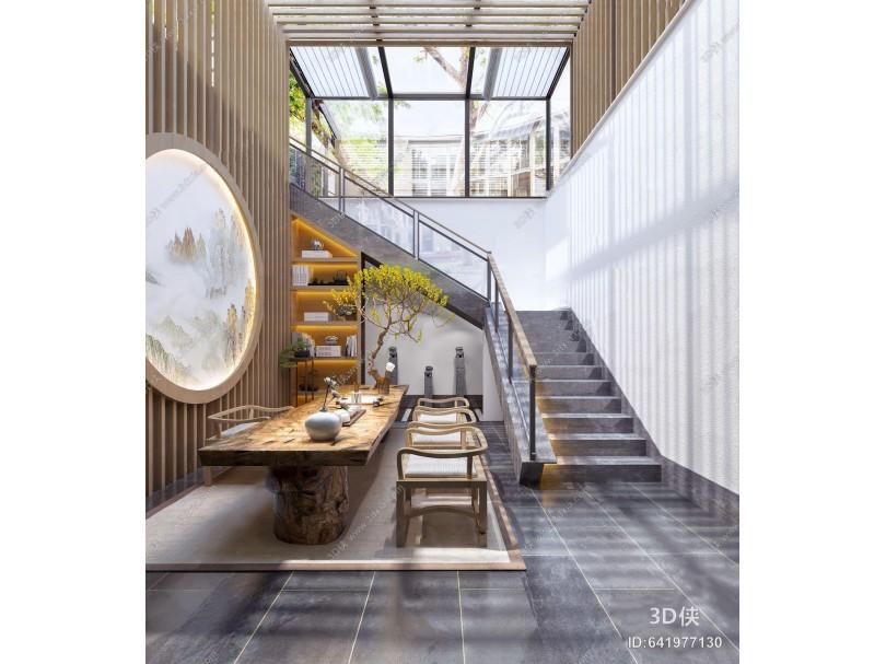 新中式露天茶室 新中式茶室 茶桌 单椅 楼梯 书柜 石雕
