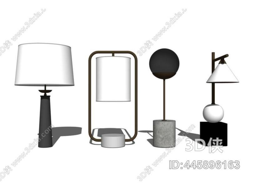现代台灯组合SU模型