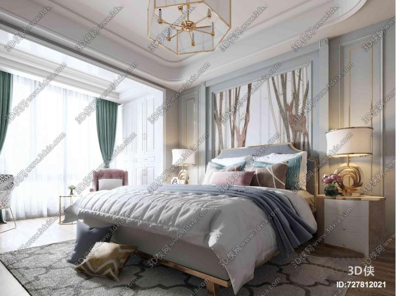 美式双人床床头背景沙发吊灯3D模型