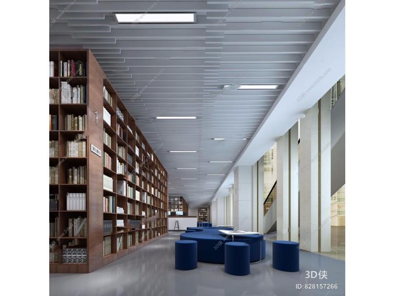 现代图书馆 现代其他 阅读区 书架 服务台 多人书房 弧形沙发 公共区域沙发