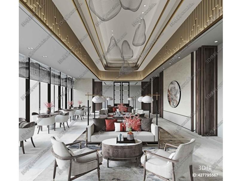 新中式售楼处招待室3D模型