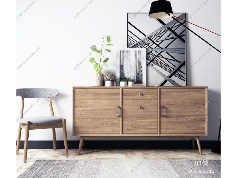 现代休闲椅实木边柜组合3D模型