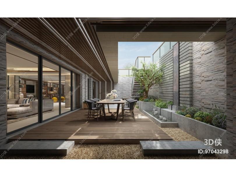 现代庭院花园餐桌椅组合3D模型