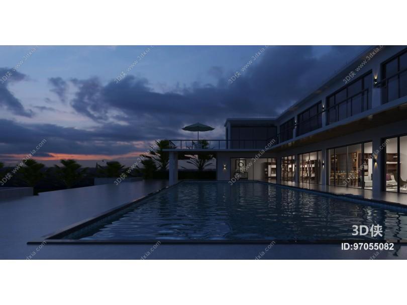 现代别墅外观含夜景3D模型