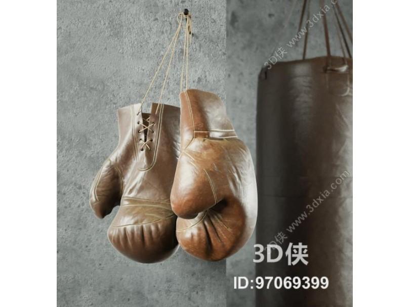 现代拳击沙袋拳击手套组合3D模型