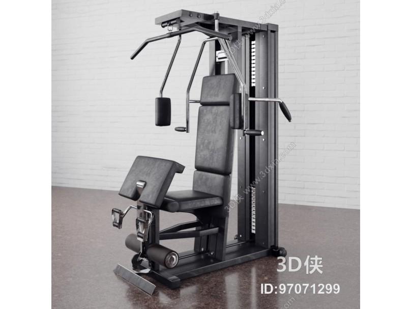 现代坐姿推胸训练器健身器材3D模型