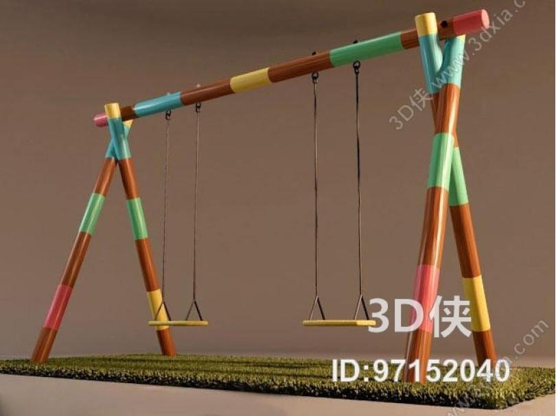 现代双人秋千3D模型