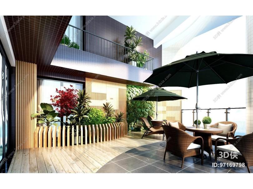 现代室外阳台庭院花园休闲区3D模型
