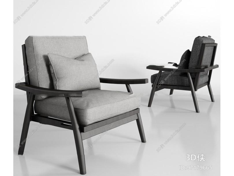 现代实木布艺沙发组合3d模型