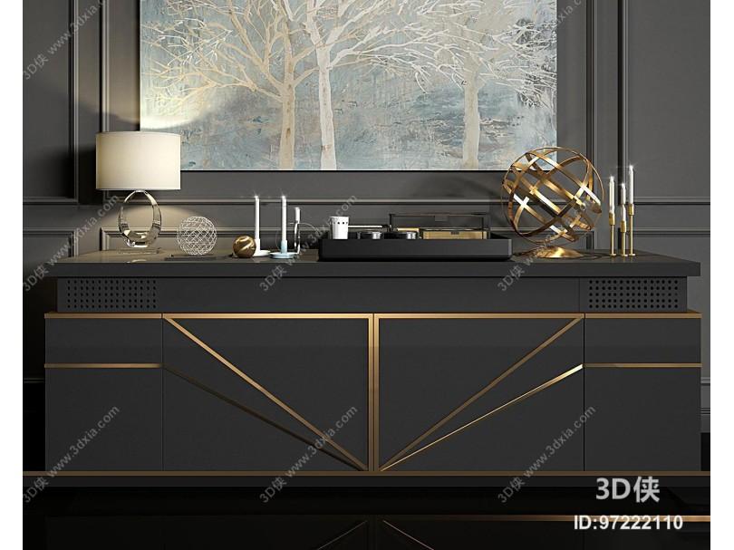 现代金属端景边柜组合3d模型