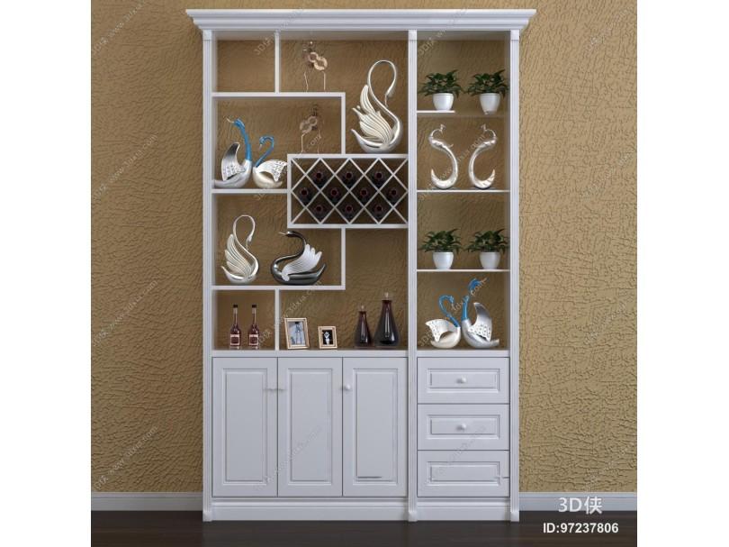 现代实木酒柜摆件组合3D模型