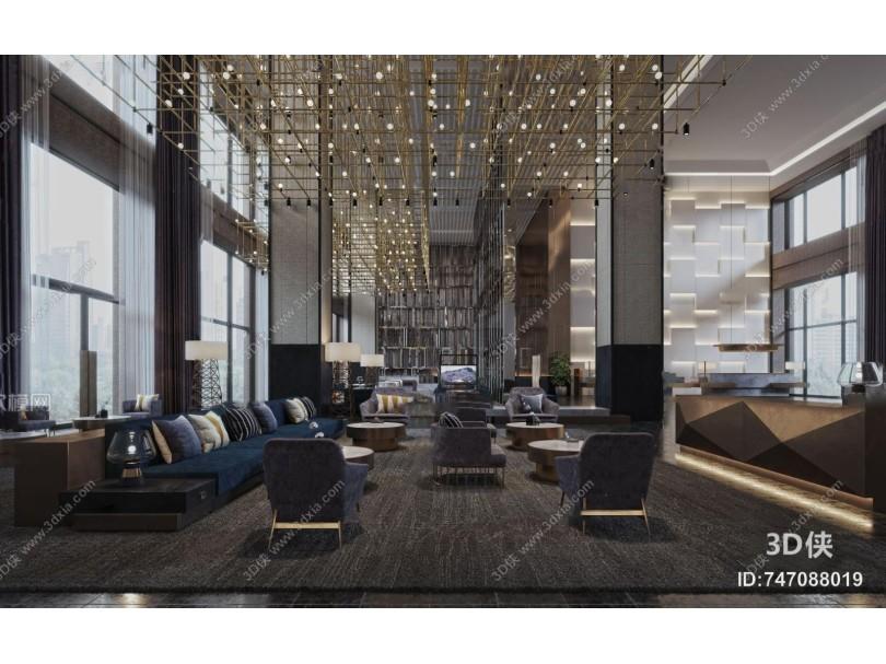 现代轻奢酒店大堂3d模型