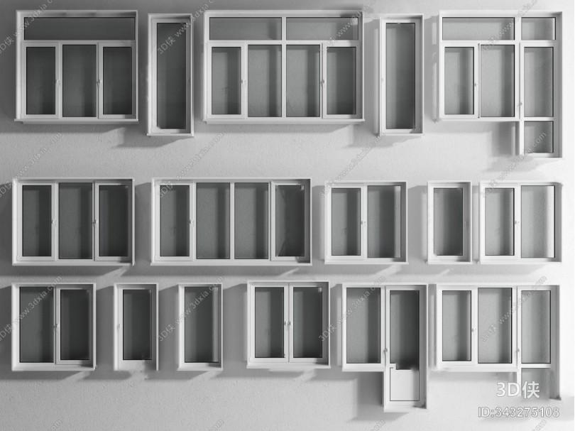 现代窗户组合3d模型