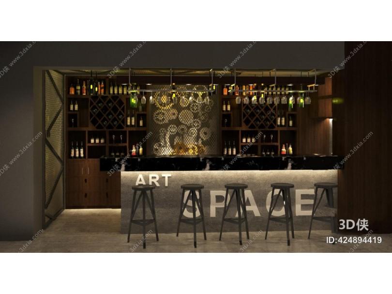 工业风酒吧3D模型