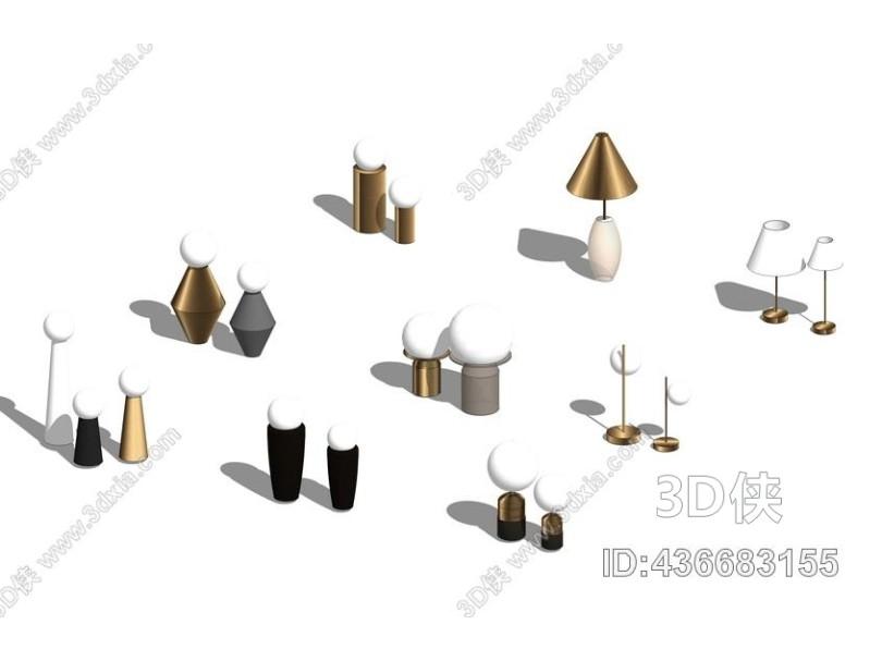 台灯组合SU模型