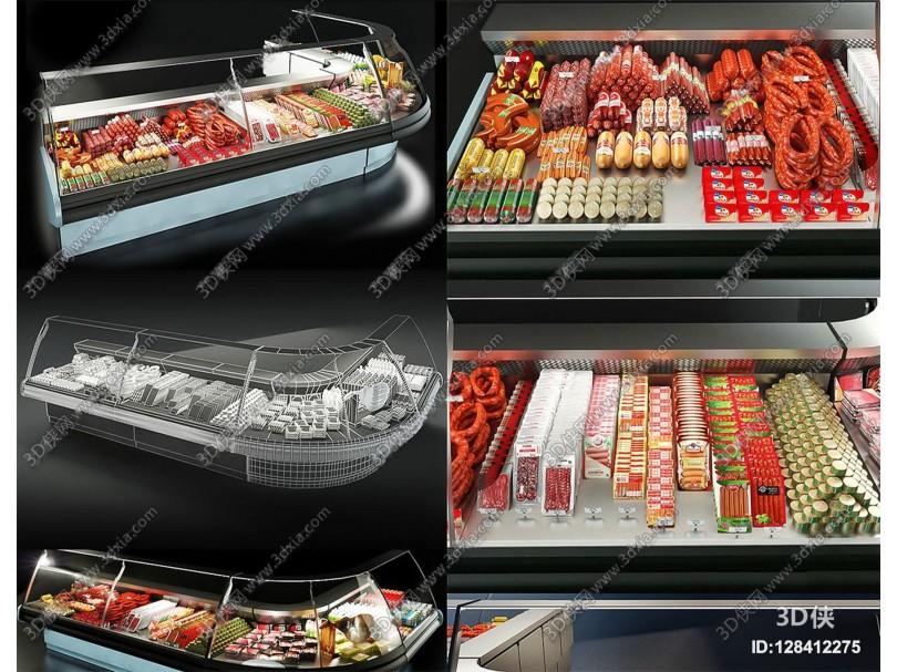现代超市鲜肉冷柜3d模型