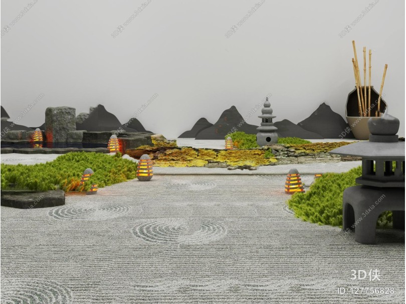 新中式景观小品3D模型