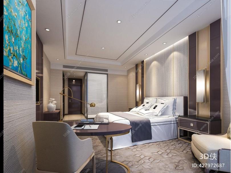 现代新中式客房 现代客房 现代卧室 双人床 床头柜 壁灯 多人沙发 书桌椅 台灯 电视柜